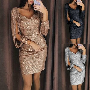 Heißer verkauf frauen sommer dress pailletten langarm bodycon party cocktail kurze minikleider bandage quaste club bleistift dress