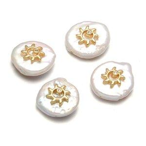 Nuovi accessori a forma di girasole perla d'acqua dolce Perle a forma di semplice pulsante del partito dei monili di formato 13-18mm regalo personalità