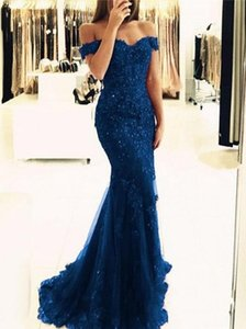 royal blue 2018 Off The Shoulder Mermaid Long Evening Dresses Tulle Appliques Beaded Custom Made Formal Evening Gowns Prom Party Dresses