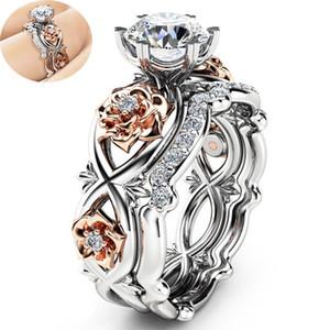 Cristal cubique Zironia Anneaux de conception de fleur bague de fiançailles de mariage anneaux couple bijoux à la mode cadeau pour les femmes Drop Shipping