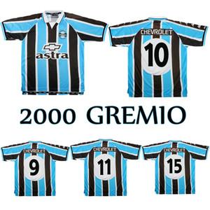 2000 Gremio Retro Soccer Jersey 2001 Ronaldinho Zinho Nene Warley Gremio Alegre Home Vintage Vecchia Camicia da calcio classica