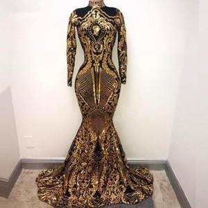 Modest ouro alta Neck Mermaid Vestidos mangas compridas Appliqued Velvet Trem da varredura Custom Made formal do partido Prom vestido de baile Plus Size
