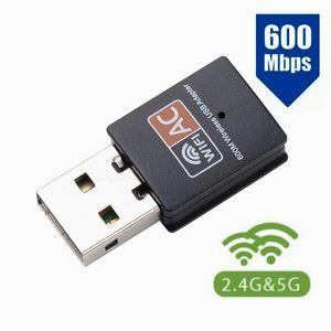 600Mbps USB WIFI Receiver Adaptador de 2,4 / 5 GHz WiFi Antena Dual Band 802.11b / n / g / ac Mini Receptor placa de rede sem fio do computador