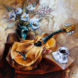 Modern paintings abstract Guitar hand painted canvas art women picture for home decor