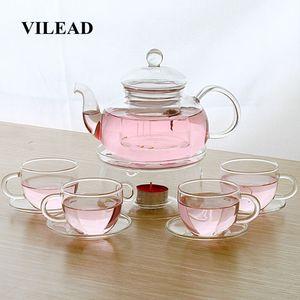 600ml 4 Estilo Tetera de cristal Conjunto de la taza con asa Con Plato Flor Teaware engrosamiento Ollas Kung Fu del hogar Oficina Utensilios de seis piezas Set