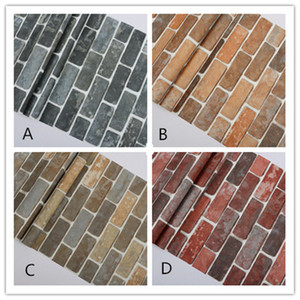 New 10Mx 53cm rustikale Weinlese-3D Faux Brick Tapete Rolle Vinyl-PVC-Retro Industrie Loft-Wand-Papier Rot Schwarz Grau Gelb Waschbar