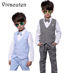 Kids Boys Formal Suits Birthday Wedding Party Dress Gentleman Plaid Shirt Waistcoat Vest Pants Outfits Children Clothes F188 T200707