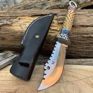 수제 스트레이트 나이프 SAMSEND 아크릴 + 컬러 로프 핸들 440C 하이킹 캠핑 사냥 도구를 상감