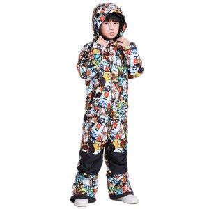 Gsou NIEVE niños de una sola pieza chaqueta de esquí al aire libre mono de los niños snowboard babero impermeable de los cabritos del juego de esquí de los mamelucos del abrigo Trajes