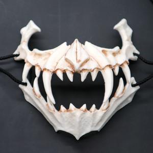 Halbtiermaske Lange Zähne Dämon Samurai Weiß Knochen Maske Tengu Drachen Yaksa Tiger Harz Cosplay