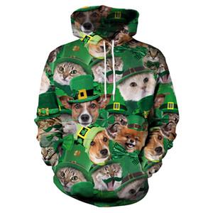 패션 Leprechaun 커플 탑스 연인 Streetwear 개 고양이 동물 프린트 후드 플러스 크기 2XL 캐쥬얼 홀리데이 세인트 패트릭의 날 스웨트