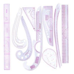 9pcs / set Französisch Lineal Kunststoff Nähen Werkzeuge Curve Shaped Measure Ruler für Nähen Schneiderei Supplies, 9 Styles