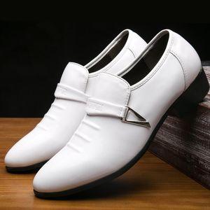 Sexy2019 Pop Männer Weißes Leder Hochzeit Komfortable Edle Einfarbig Flache Ferse Kleid Schuhe Für Gelegenheit