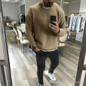 Mens Fashion 19 New Sweaters Solid Color Knitted Sweater Tops Long Sleeved Bottoming Tops