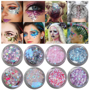 20 color brillante sombra de ojos multicolor Highlighter del maquillaje del polvo de cara larga duración del brillo del amor de estrellas pegatinas polvo de la perla TSLM2