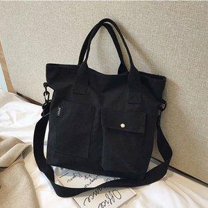 Big Capacity Canvas Shoulder Bag With Frog Pendant Women Casual Crossbody Messenger Bags Girls Daily Travel Shopping Handbags