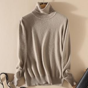 TONFUR tricot à col roulé Automne Hiver Pull Femmes, match de base solide mélange cachemire Femme Col roulé overs T200101