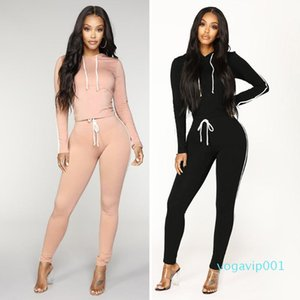 Women sports Sets Women Black and pink 2 pcs Sweatsuit Cotton Summer Pullover Suits outfit Two Piece Tracksuits#g4
