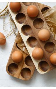 Scatola di immagazzinaggio dell'uovo di legno giapponese Protezione infrangibile frigorifero Scatola di immagazzinaggio della mensola Cucina Doppia fila Log Egg Egg Tray Tools