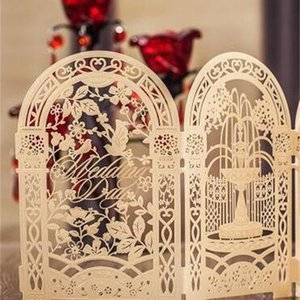 Yeni Yaratıcı Altın Özel Wishmade Lazer Kesim Düğün Davetiyesi Kartları Kiti Zarflar Mühürler Ile Bardian Baskı Doğum Günü Için 3fm