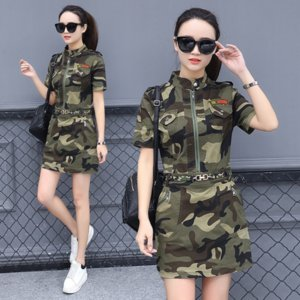 2020 women's camouflage summer dress outdoor dress fashion slim medium and long style slim fashion