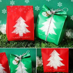 50pcs Rouge / vert Cadeaux De Noël Cadeau Sacs Boîte De Bonbons avec Flocon De Neige Noël Dessert Cookie Sacs Décorations pour La Maison Navidad