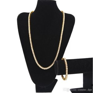 Hip Hop Jewelry Sets Iced Out Chains Men S 1 Row Bling Bling White Black Rhinestone Tennis Long Necklaces Bangle Bracelet For Rapper Jewelry
