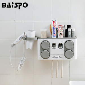 Baispo Bathroom Set Accessories Toothbrush Holder Automatic Toothpaste Dispenser Suction Cup Wall Mount Bathroom Storage Box T190708