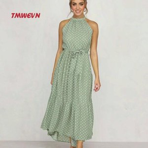 Tmwevn Fashion Sexy Polka Dot Dress Neck Sleeveless Summer Dress Long A-line Ladies Formal party