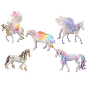 4 Styles Mini Unicorn figute toys 7.5x2.3x9.4cm rainbow wings horse Pegasus plsatic figure decorations animal model toys for childrens gifts