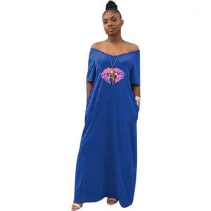 Vêtements couleur pure bouche Imprimer col en V Mi-mollet T-shirt moulante Robes de fête Mode Casual Jupe Night Party
