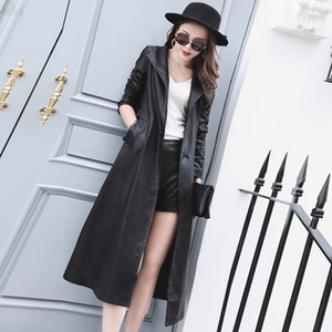 2020 Autumn Super Long Womens PU Leather Jacket Black Trench Slim Fit Motorcycle Coat Female Belted Lapel Collar Punk Overcoat
