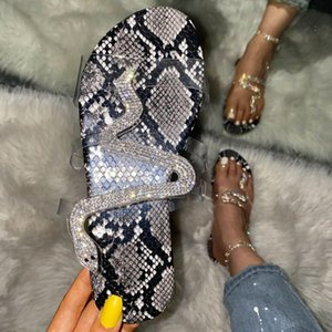 2020 Fashion Women Sandals Snake Print Bling Rhine Stone Slip-on Shallow Flat Shoes Casual Ladies Outdoor Holiday Slipper #T2G
