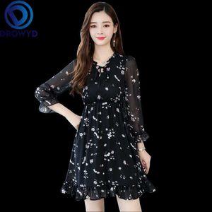 여성 패션 소녀 보헤미안 꽃 V 넥 드레스 우아한 클럽 파티 드레스 Vestidos에 대한 DROWYD 여왕 캐주얼 Chifon 블랙 미니 드레스