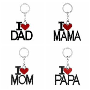 Carta Keychain Inglês Eu amo Mama Papa Mom Dad metal chave anel de família Chaveiros para Pai Dia da Mãe presente 4COLORS GGA2711