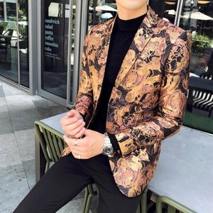 Fashion Slim Fit Blazer Men 2020 New Arrival Mens Vintage Casual Blazers Floral Prom Dress Blazers Elegant Wedding Blazer