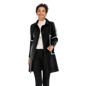 YYFS Mulheres Outono Inverno Casual Ponto Aberto Casaco de Design de Moda Stripe Longo Casaco Feminino Streetwear Solto Escritório Senhora Outwear