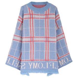 2020 Frauen Neue Quaste Pullover Plaid loser Strick Chic Tops Warme Pullover casaco feminino Herbst-Winter-Maxi-Jumper