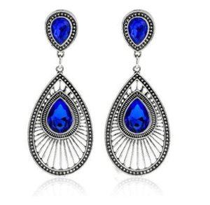 Womens goccia d'epoca orecchini di cut-out WaterDrop Gemstone Hook ciondolanti orecchini da donna gioielli regali Per Lei
