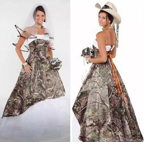 Elegante 2020 Camo Brautkleider Satin Land Cowgirls Brautkleider Sweep Zug Plus Size Tarnung Brautkleider Korsett schnüren sich oben