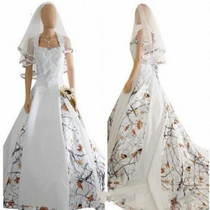 2020 New Country White Camo Wedding Dresses With Veil Satin Lace Appliques Bridal Gowns Lace Up Back Custom Long Camouflage Wedding Dress