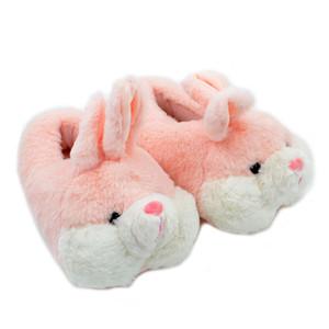 Linda rosa coelho arte de seda inverno quente chinelos de veludo confortável chinelos de pelúcia chinelos chinelos de pelúcia