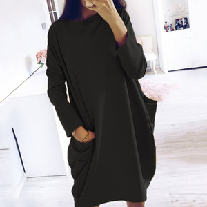 Simple Solid Colors Dress Plus Size Women Long Sleeve Pockets Tunic Top Ladies Loose Pullover Dress Female Streetwear vestidos