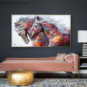 Imprimir imagem colorida Cavalos decorativa Canvas Poster Nordic Art parede de animais Pintura abstrata Modern Living Room Decoration