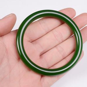 Menina verde Laokeng espinafre redonda Pulseira Jade Natural Xinjiang Hotan Jade Pulseira Fina de Mulheres