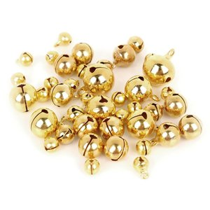 6 8 10 12 14mm Copper Loose Beads Small Jingle Bells Christmas Decoration Pendants DIY Crafts Handmade Accessories 20-100Pcs lot