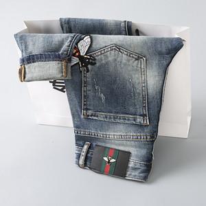 2019 Yeni Moda Erkek Jeans Küçük Arı Yıkama Delik Kot Küçük Düz Pantolon