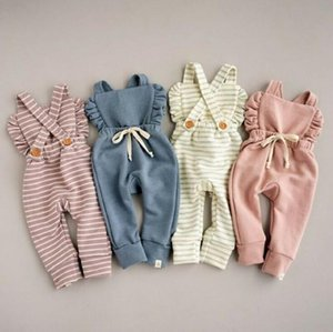 Newborn Stripe Rompers Kids Backless Newborn Overalls Ruffle Pure Color Children Playsuits Candy Color Baby Clothing WY230