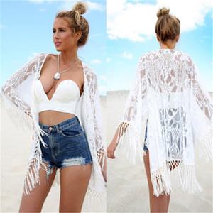 Bikini Cover Up Lace creux Crochet Maillot de bain Robe de plage Femmes 2020 Summer Ladies Cache-maillots Maillot de bain vêtements de plage Tunique sexy