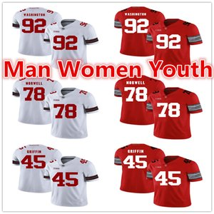 Sipariş üzerine NCAA Ohio State Buckeyes futbol formaları Adolphus Washington 92 Andrew Norwell 78 Archie Griffin 45 forması herhangi bir ad numarası S-5XL
